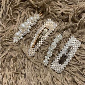 Pearl hair clips 4